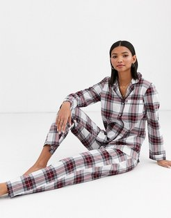 organic cotton check pyjama gift set in red and white