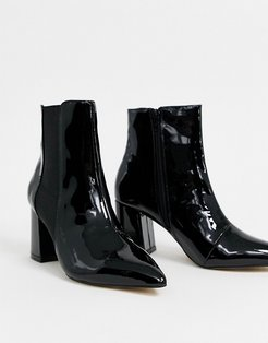 almond toe ankle boot in black patent