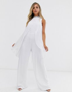 embellished cape jumpsuit in white