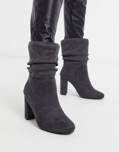 faux suede slouch boots-Gray