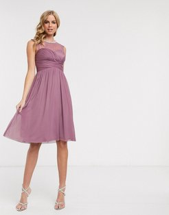 lace embellished midi dress in pink