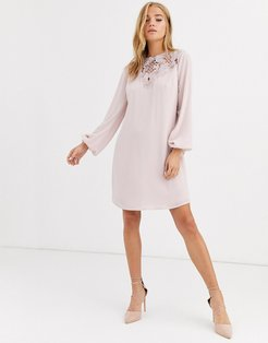 long sleeve embroidered shift dress in pearl pink
