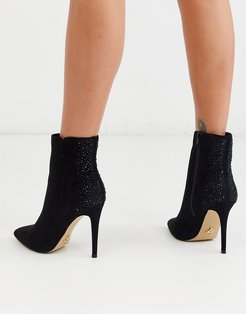 pointed ankle boot with rhinestone back detail in black