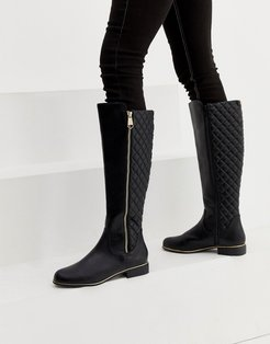 quilted knee high riding boot in black