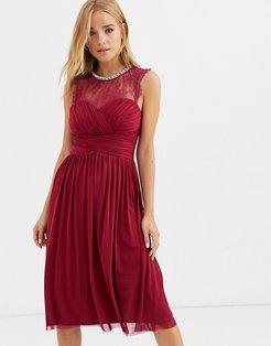 ruched midi dress with lace yolk and embellished neck in berry-Red