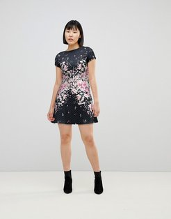 Textured Midi Skater Dress with Floral Placement Trim-Multi