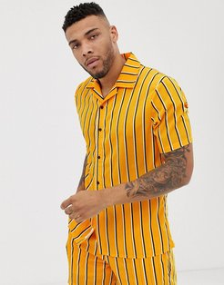 two-piece revere shirt in mustard with stripe-Multi
