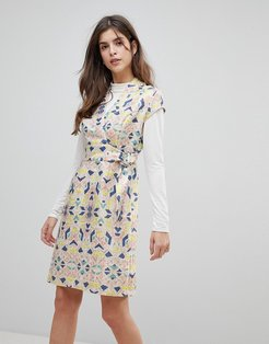 Cap Sleeve Geoprint Dress With D-Ring And Attached Belt-Multi