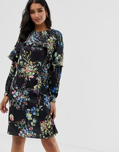 floral mini shift dress with frill detail-Black