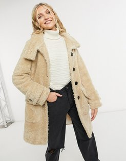 midi teddy coat with buttons in beige-Neutral