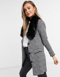straight coat in gray plaid with faux fur collar in black-Grey