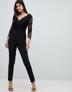 lace sleeve fitted jumpsuit in black