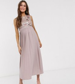 midi skater dress with embellished lace in mink-Pink