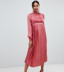 pleated midi dress in rose-Pink