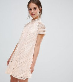 all over lace mini shift dress-Pink
