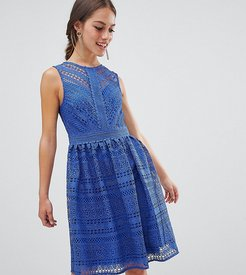all over lace prom midi skater dress-Blue