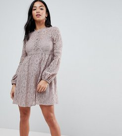 All Over Lace Smock Dress With Bell Sleeve Detail-Gray