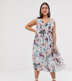 all over midi skater dress in multi floral print