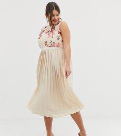 embroidered top midi pleated dress in cream multi