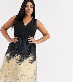 metallic jaquard midi prom dress in gold-Black