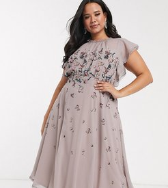ruffle midi dress in butterfly print-Multi