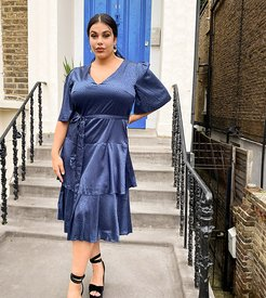 tiered satin midi dress in navy