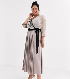 wrap front maxi dress with pleated skirt in mink-Pink
