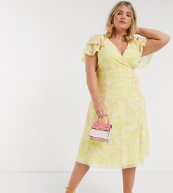 wrap midi dress in lemon floral-Yellow