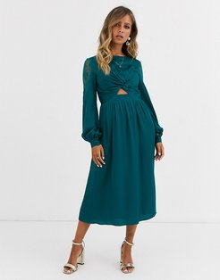 satin midi dress with cut out waist in teal-Blues