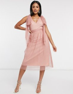 skater midi dress with bow shoulder in cosmetic pink
