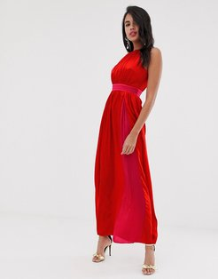 sleeveless maxi dress-Red