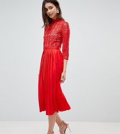 3/4 Sleeve Lace Top Pleated Midi Dress-Red
