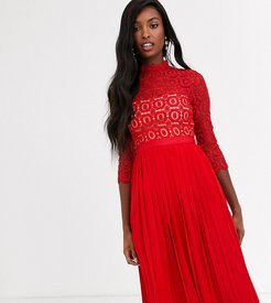 midi length 3/4 sleeve lace dress in tomato red