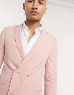 double breasted suit jacket in dusty pink