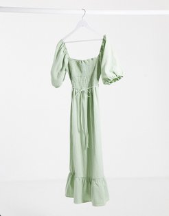 sage smock maxi dress with puff sleeves-Green