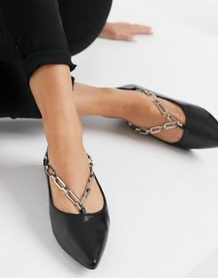 Ballet Flat with chain-Black