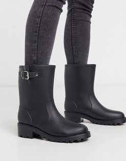 biker welly boots-Black
