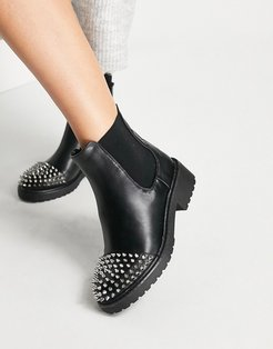 chunky ankle boots with studs-Black