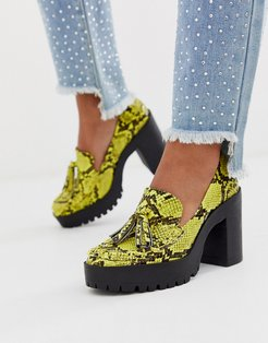 chunky platform shoes in yellow snake