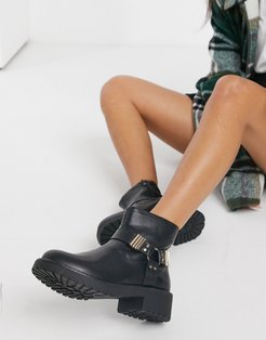 hardware ankle boots in black
