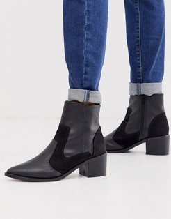 kitten heel western boots in black