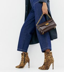 Leopard Wide Fit Stiletto Ankle Boots-Multi