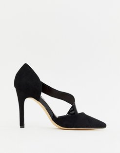 patent cross strap pointed heels-Black
