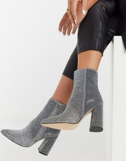 pointed heeled ankle boot in silver glitter-Multi