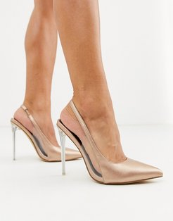 pointed stiletto slingback heels in rose gold-Orange