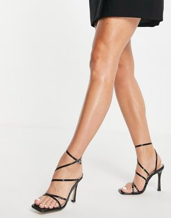 strappy heeled sandals in black