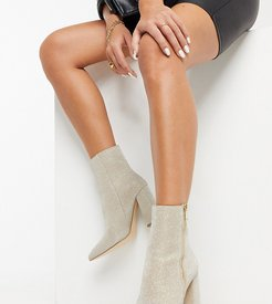 wide fit pointed heeled ankle boots in glitter-Silver