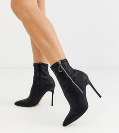 wide fit pointed stiletto heeled boots in black