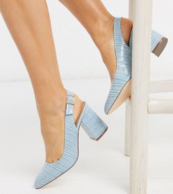 wide fit sling back block heels in blue croc
