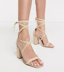 wide fit tie leg barely there heeled sandal in beige